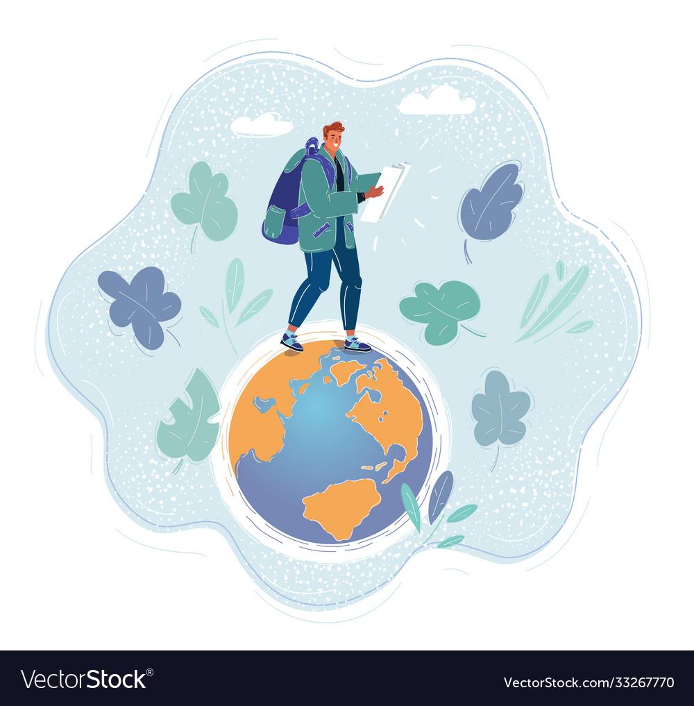 Man walking on earth globe