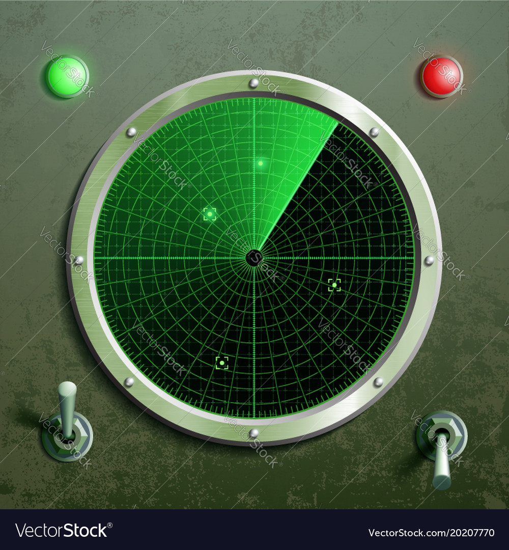 Military green radar screen with the target and