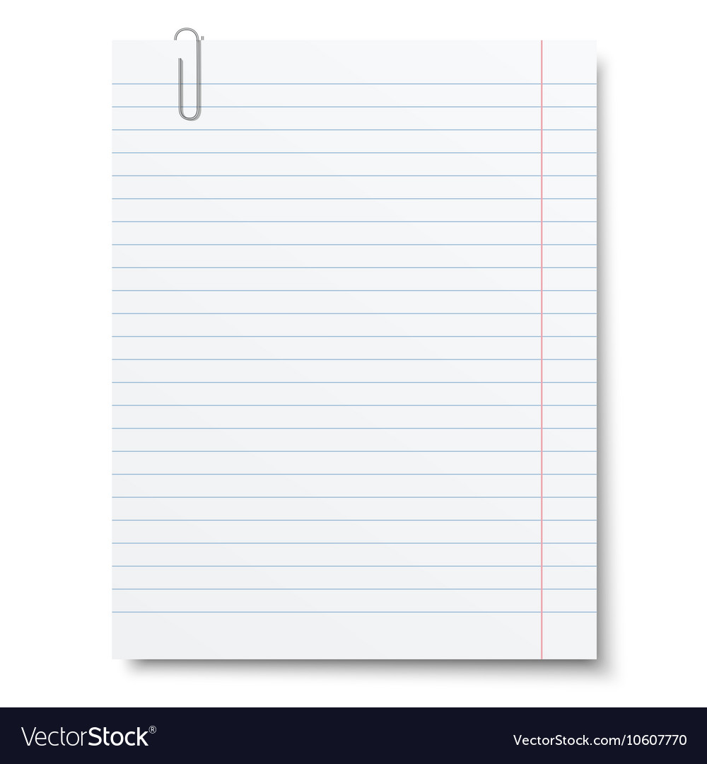 Notebook lined paper sheet with metallic clip