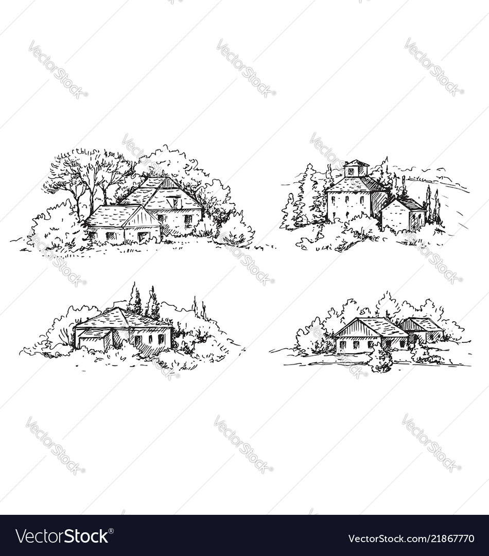 Rural scene with houses and trees sketch