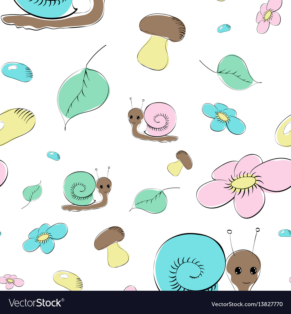 Seamless pattern with snails mushrooms and flower