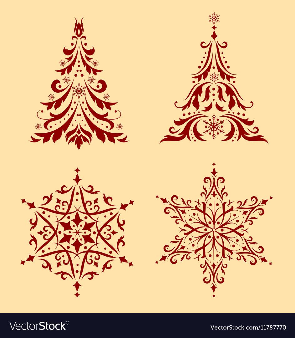 Christmas Ornaments Vector.Set Of Christmas Ornaments