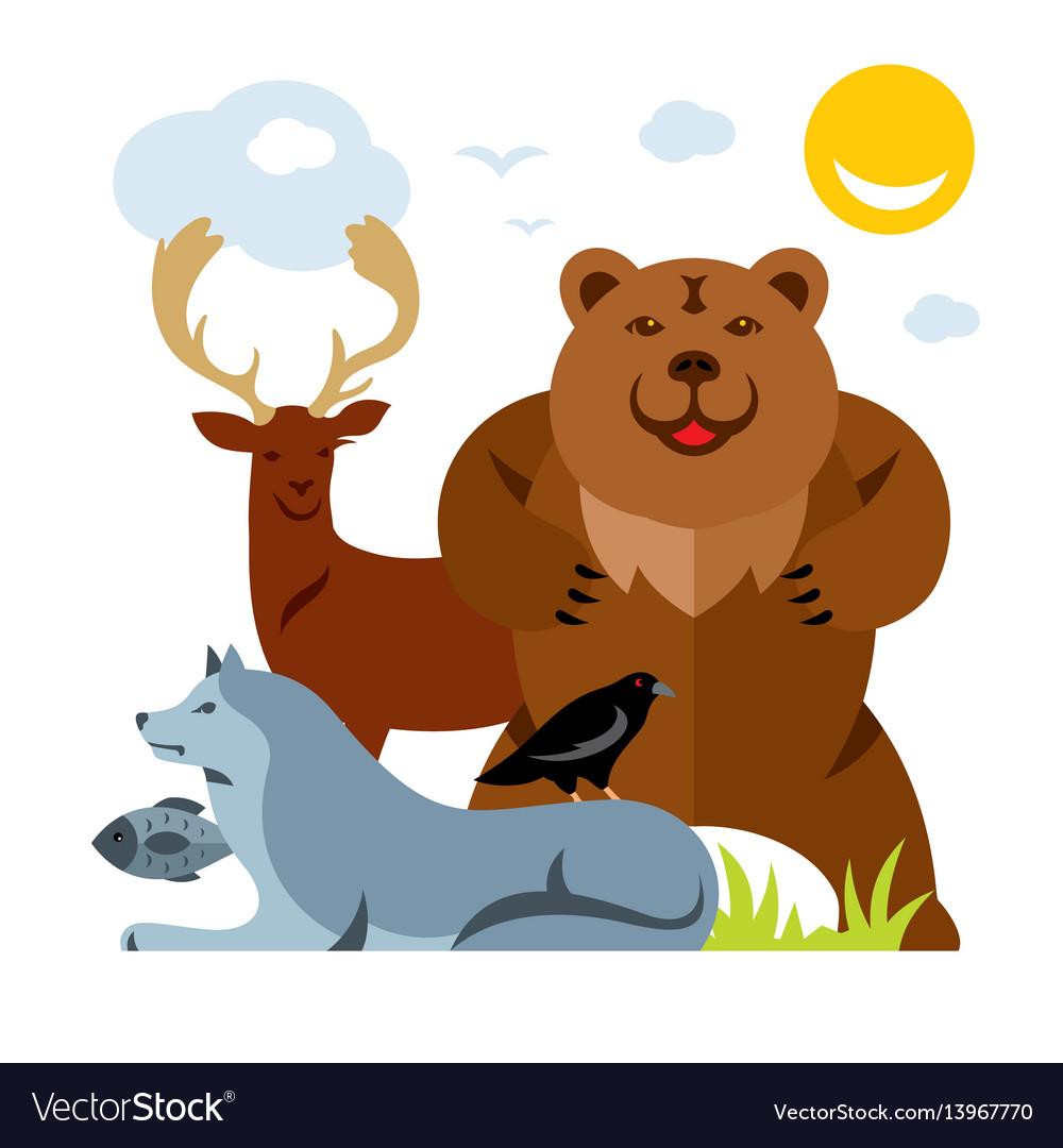 Set of different wild animals flat style