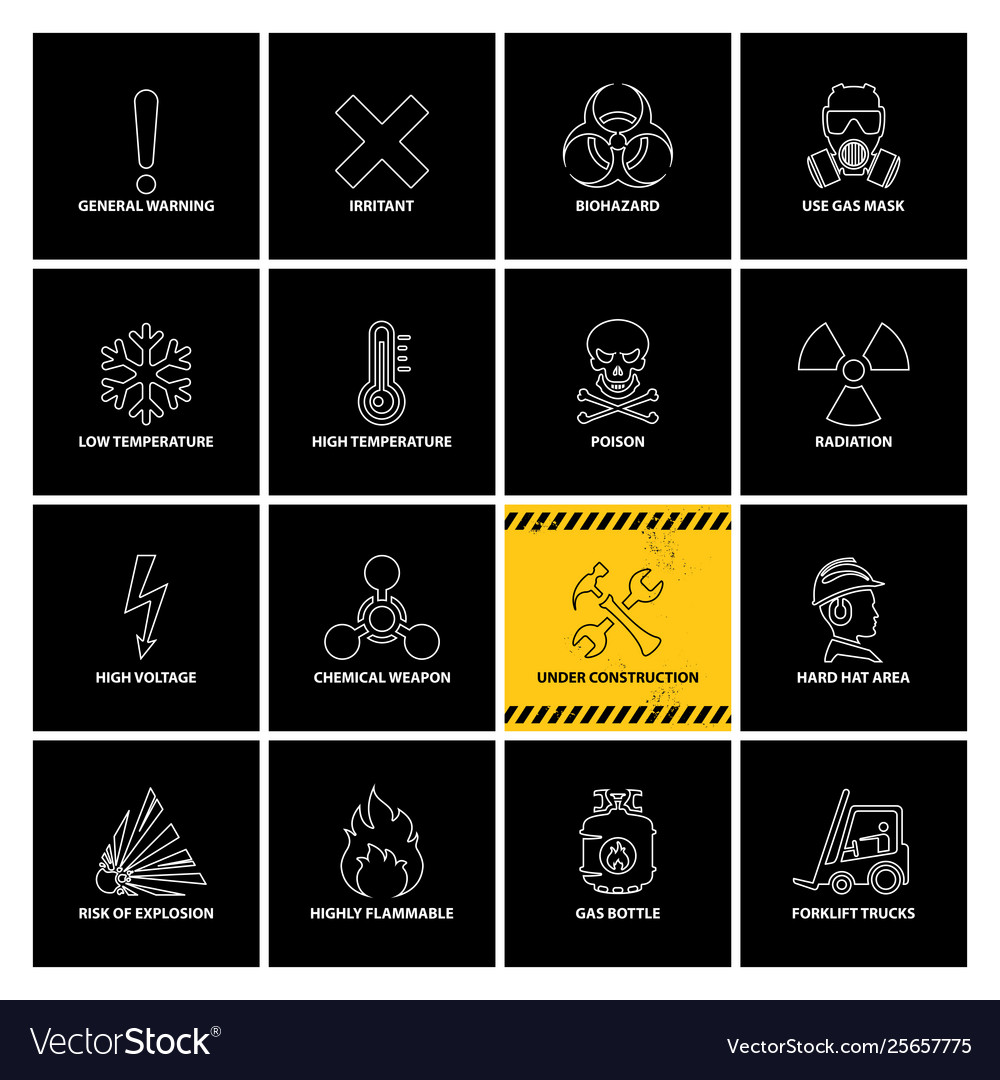 16 warning labels with line icons
