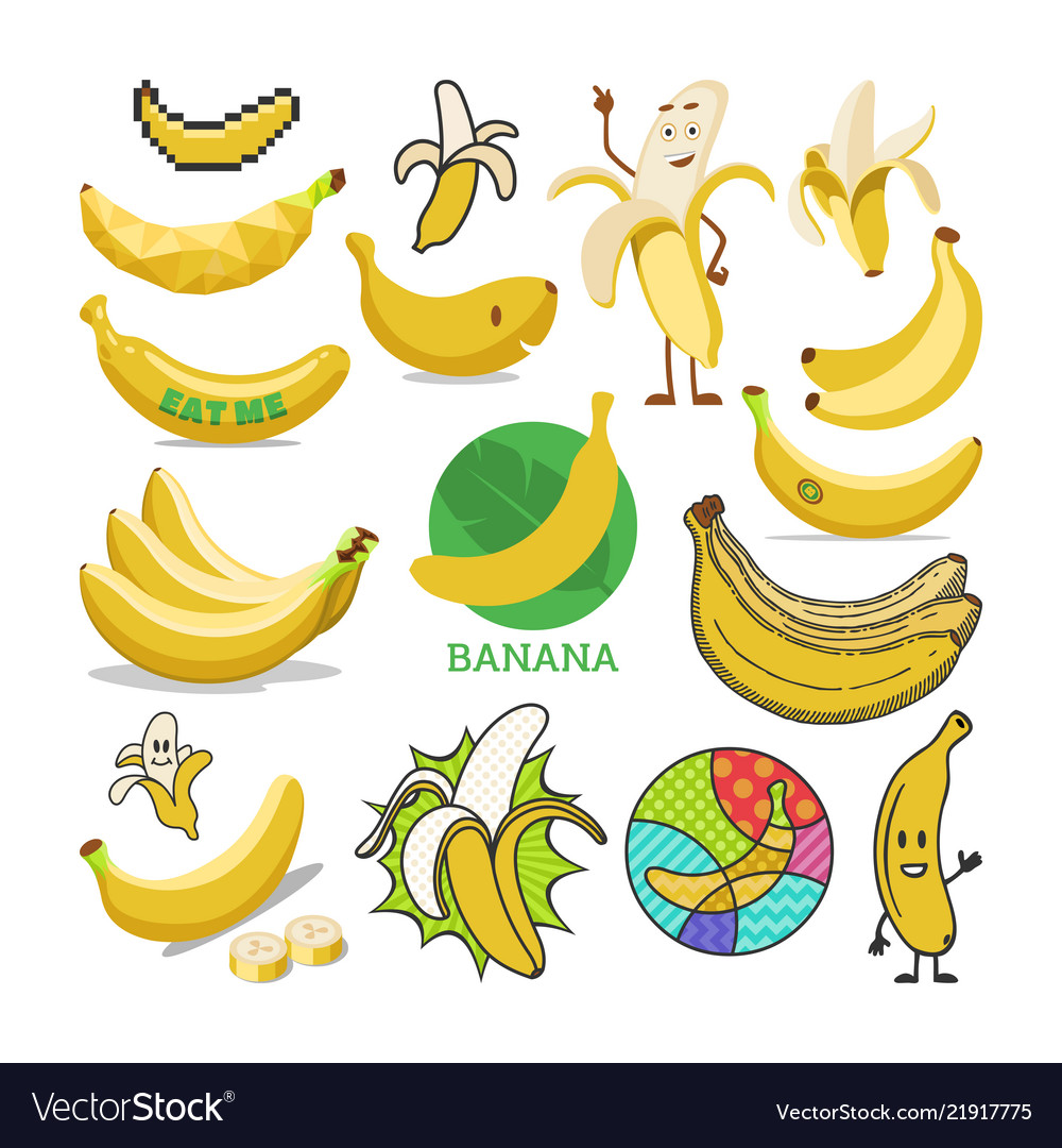 Banana yellow tropical fruit or healthy