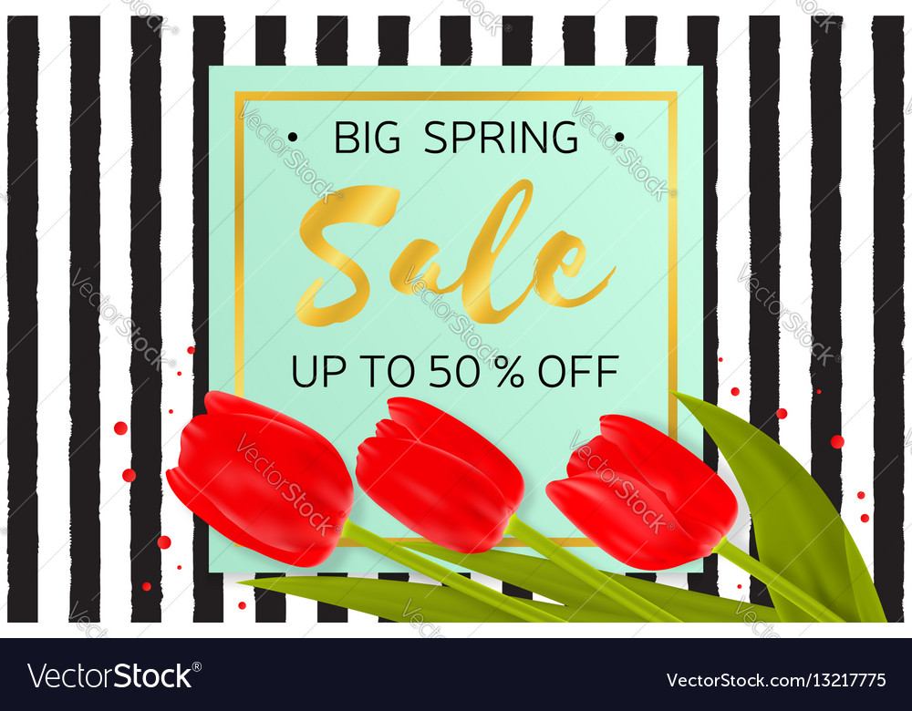 Big spring sale background with beautiful flowers vector image mightylinksfo
