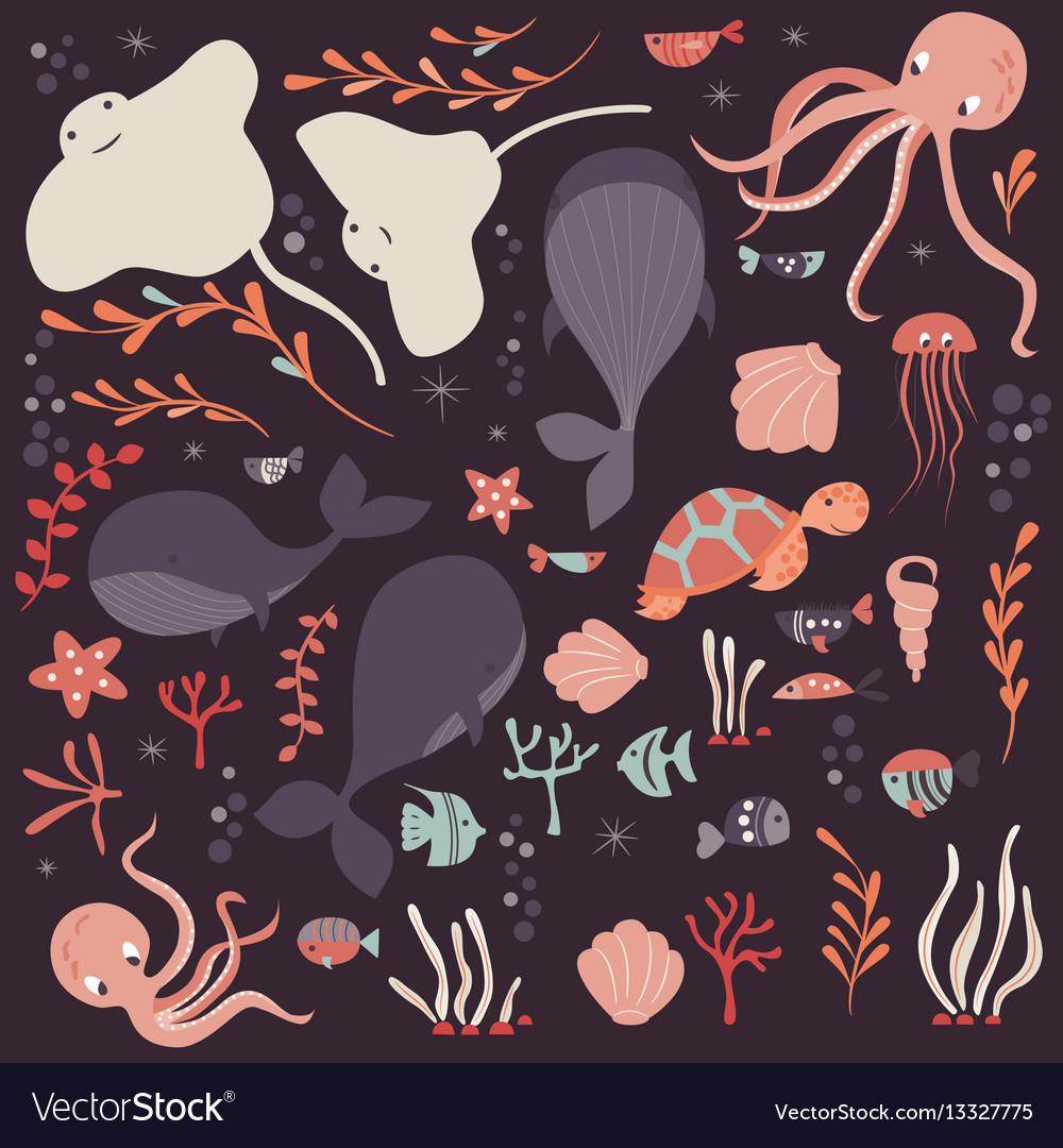 Collection colorful sea and ocean animals