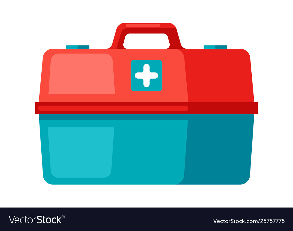 First aid kit icon in flat style