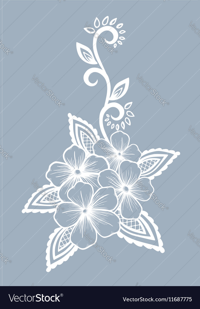 Floral element Black-and-white flowers and leaves