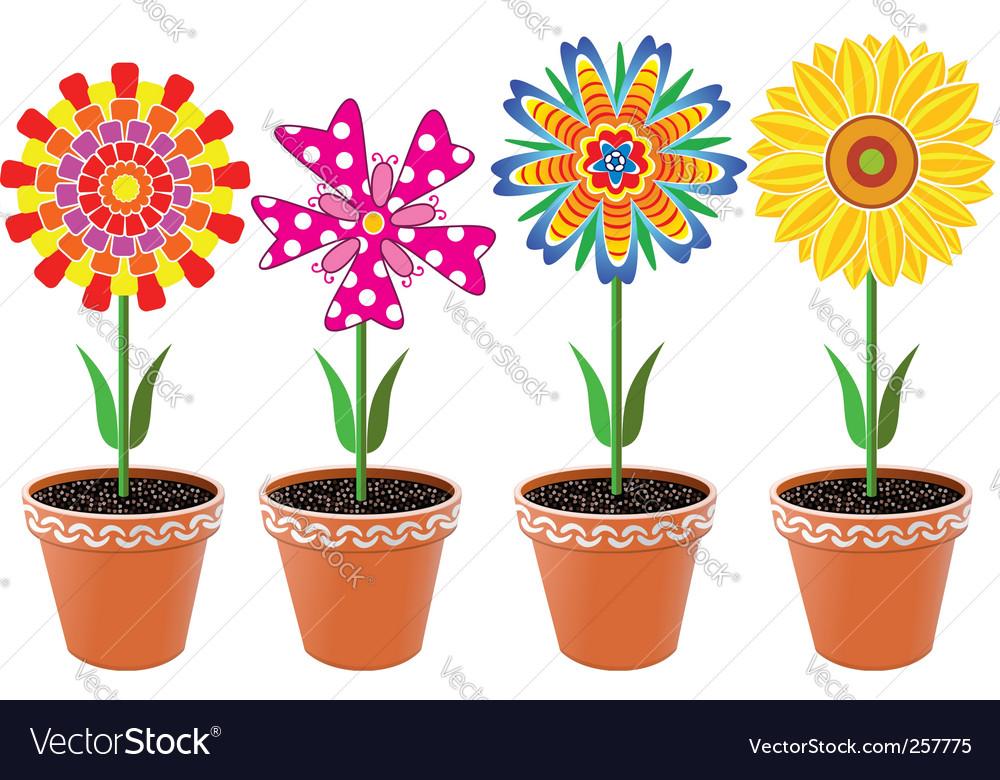 Flowers In Pots Royalty Free Vector Image Vectorstock