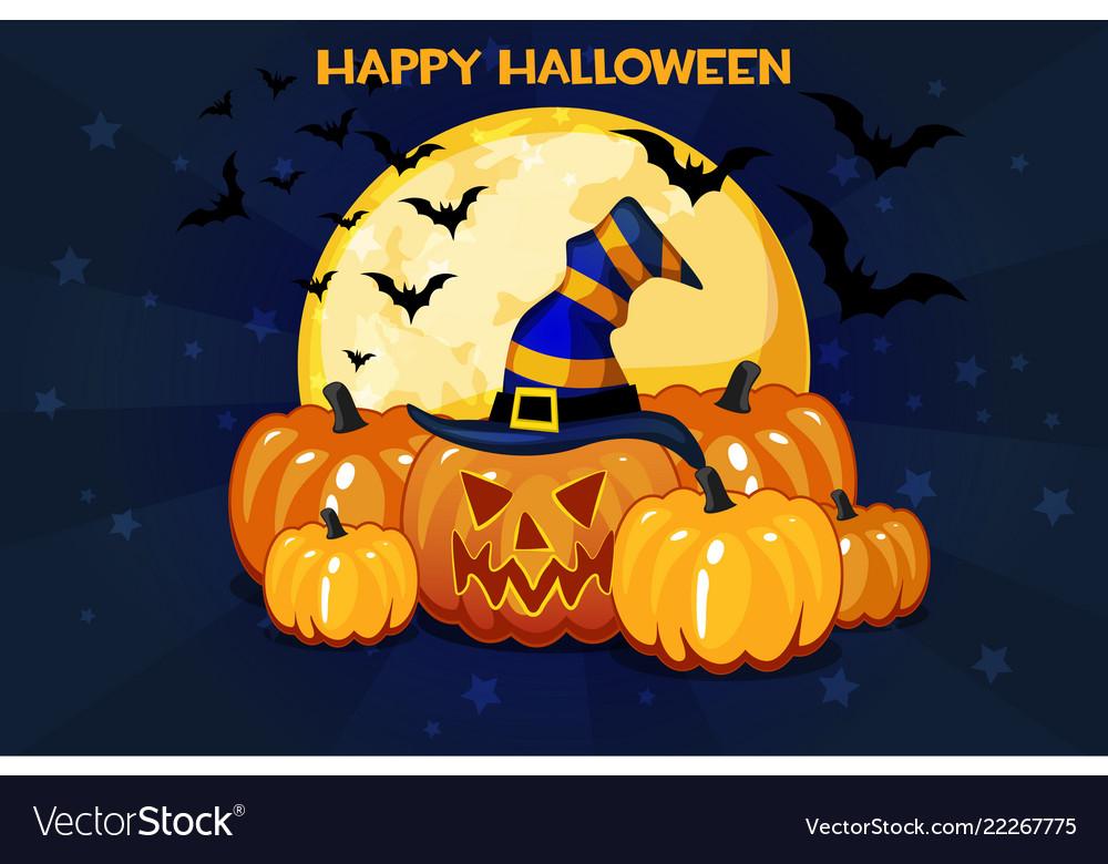 Funny cartoon halloween pumpkins and moon