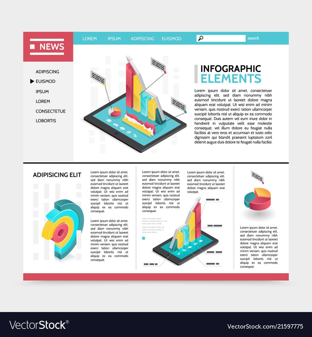 Isometric infographic elements website concept