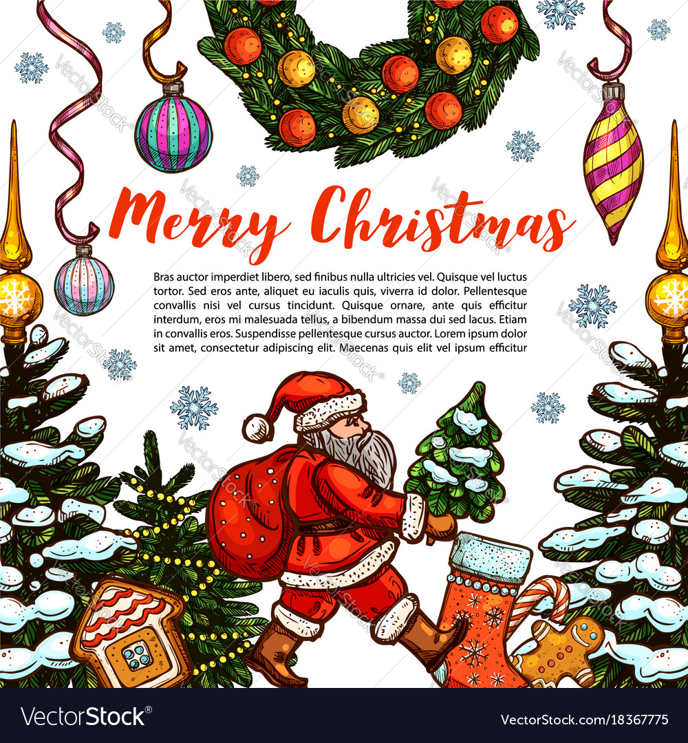 Merry christmas holiday sketch greeting Royalty Free Vector