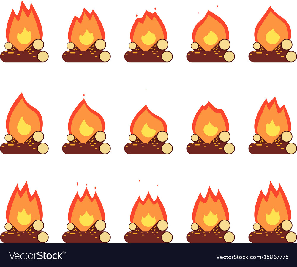 Motion animation flame burn night camp campfire vector image