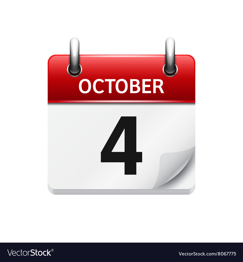 October 4 flat daily calendar icon Date