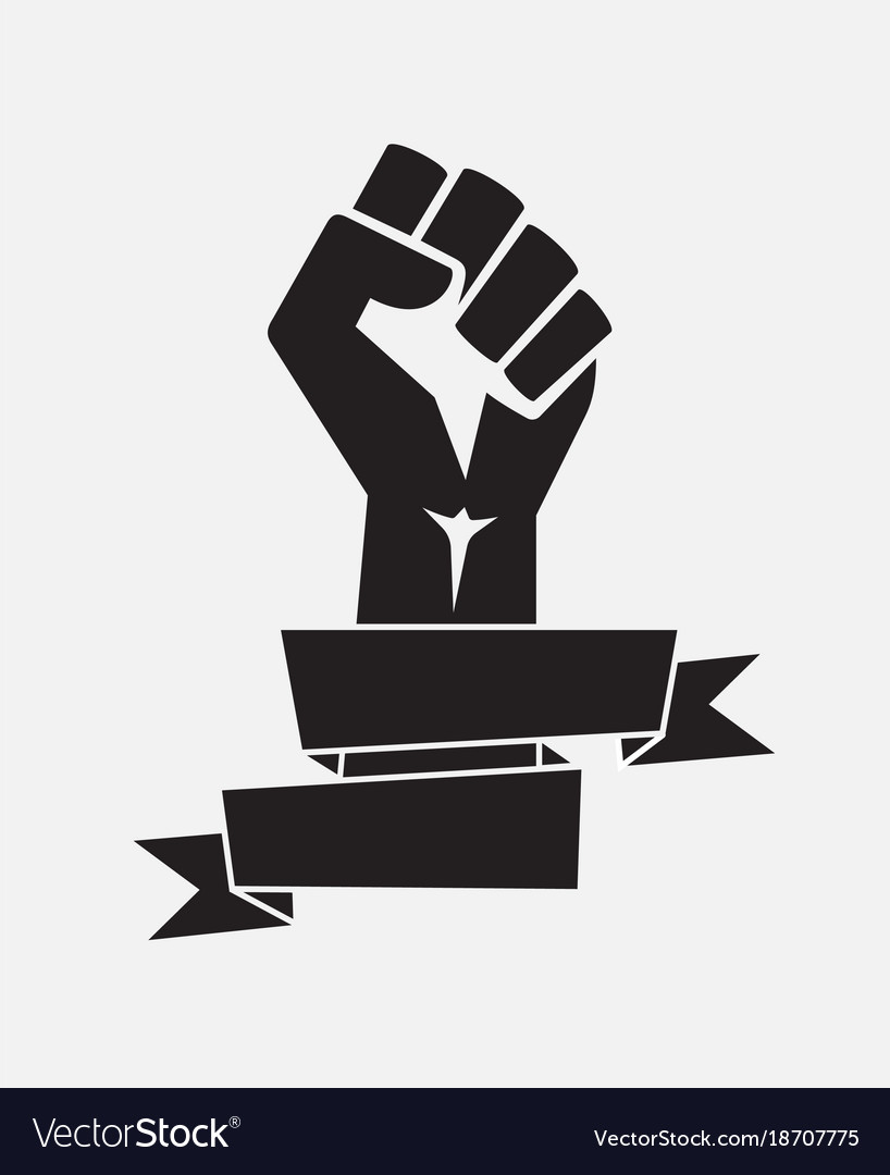Raised fist poster black with ribbon - isolated