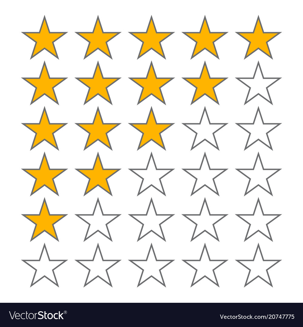 Row of five stars rate 5 star rating icons