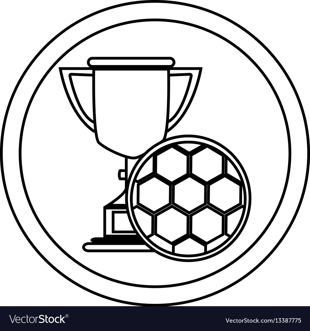 Silhouette circular frame with trophy with soccer