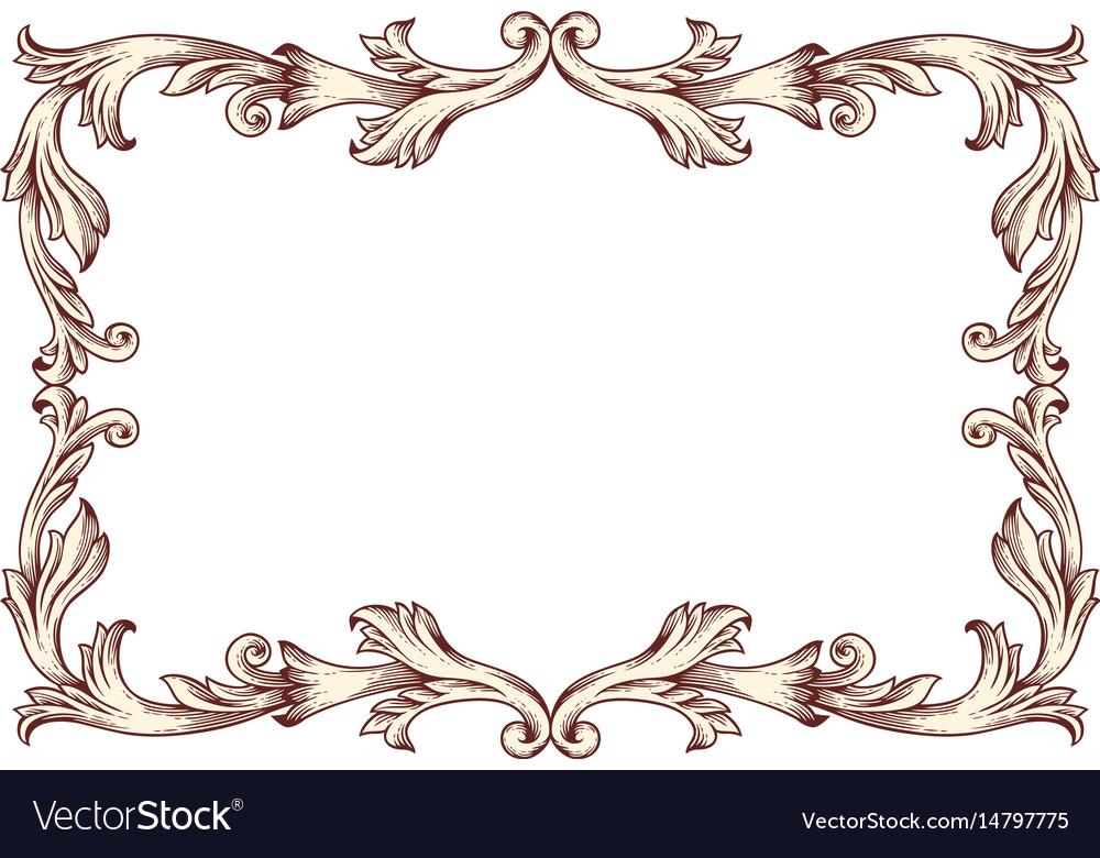 Vintage border frame baroque Royalty Free Vector Image