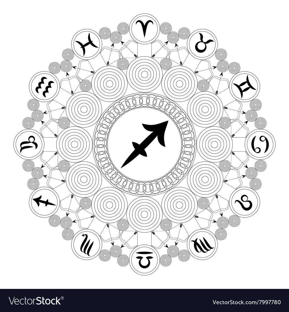 Adult Coloring Book Mandala Zodiac Sagittarius Vector Image