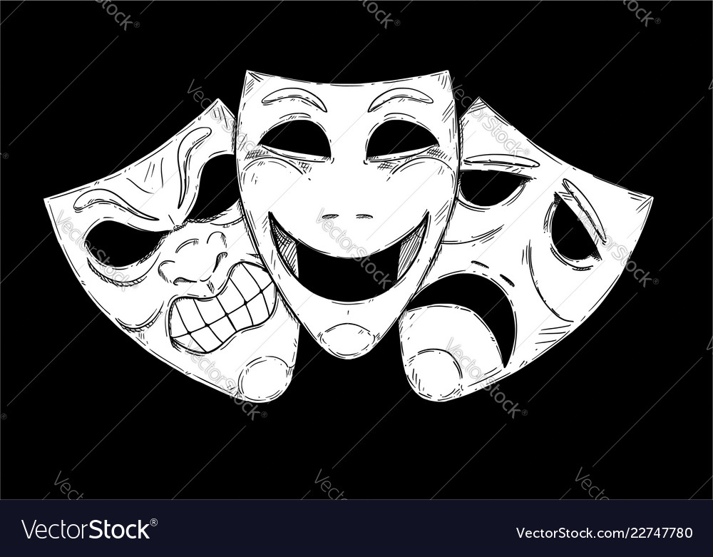 Artistic drawing of angry happy and sad comedy Vector Image ca48f999e173