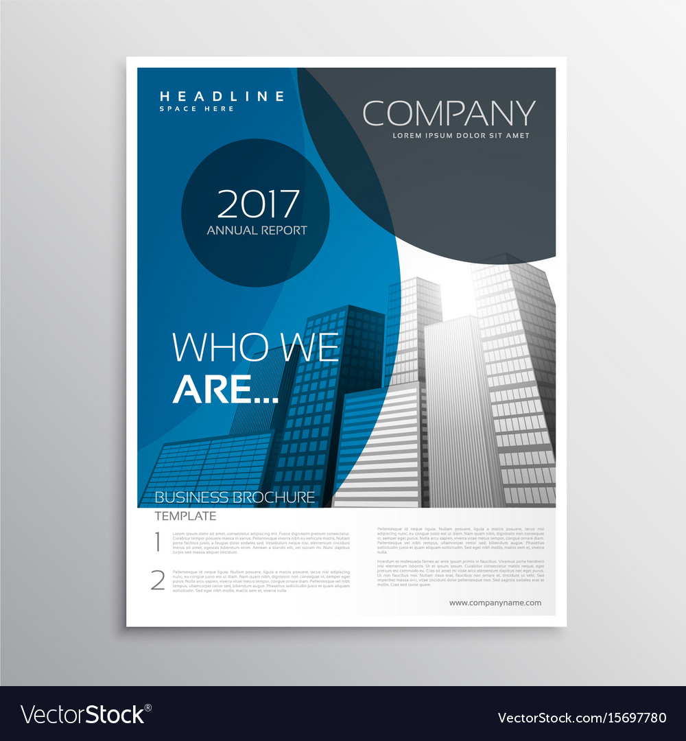 Blue business brochure cover page template design vector image accmission Gallery