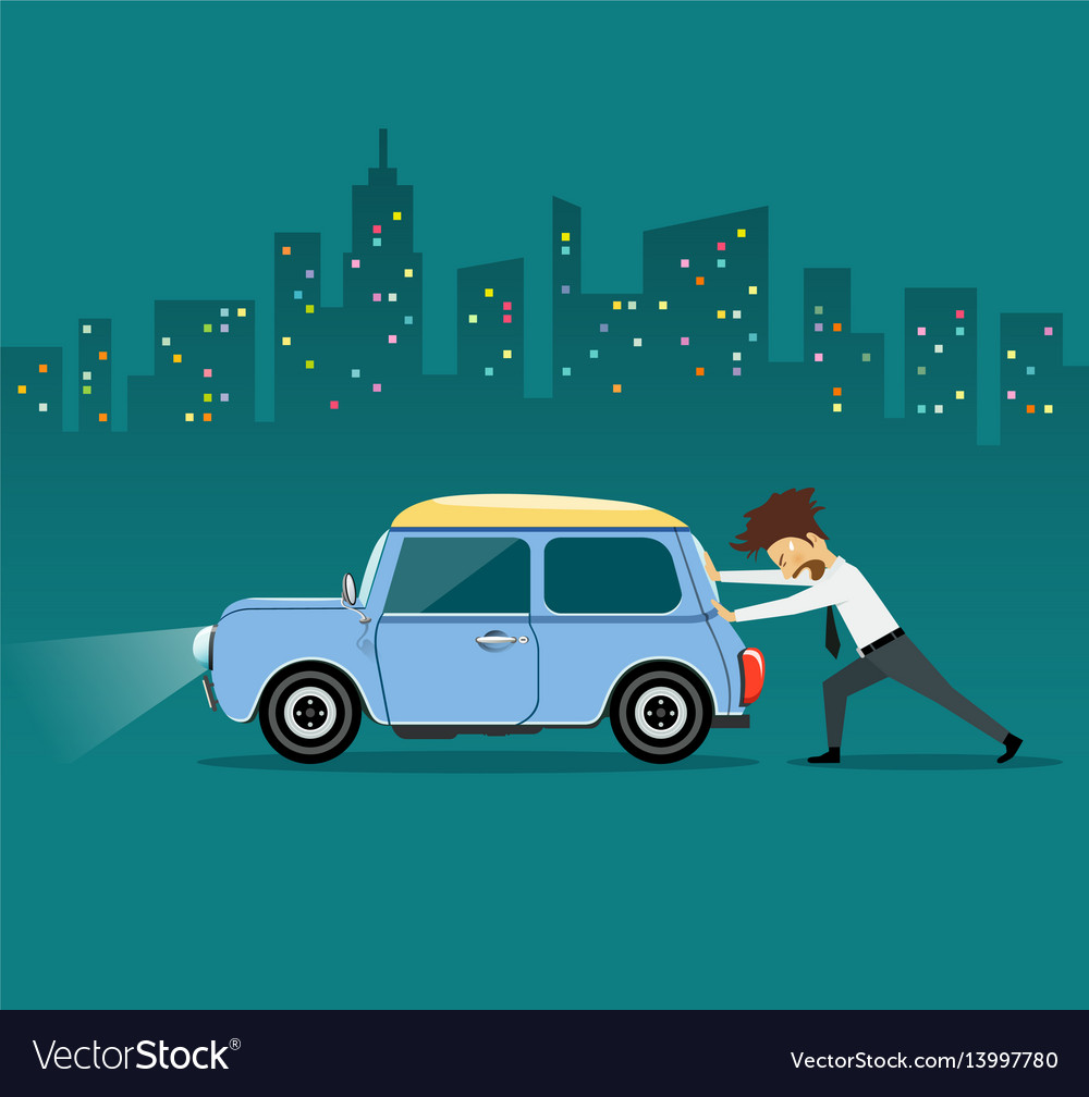 business man pushing car the car losing oi vector image