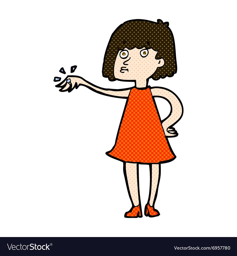 Vectorstock Off Ring Vector Cartoon Woman Comic Image Engagement Showing On CdoBxe