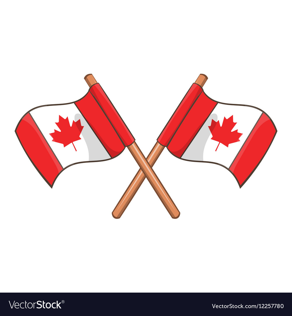 Crossed Canada flags icon cartoon style