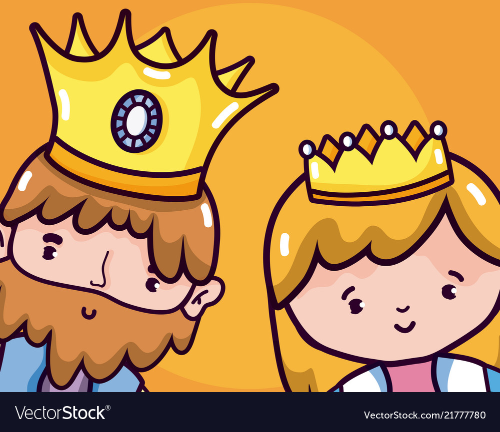 cute king and queen cartoons royalty free vector image