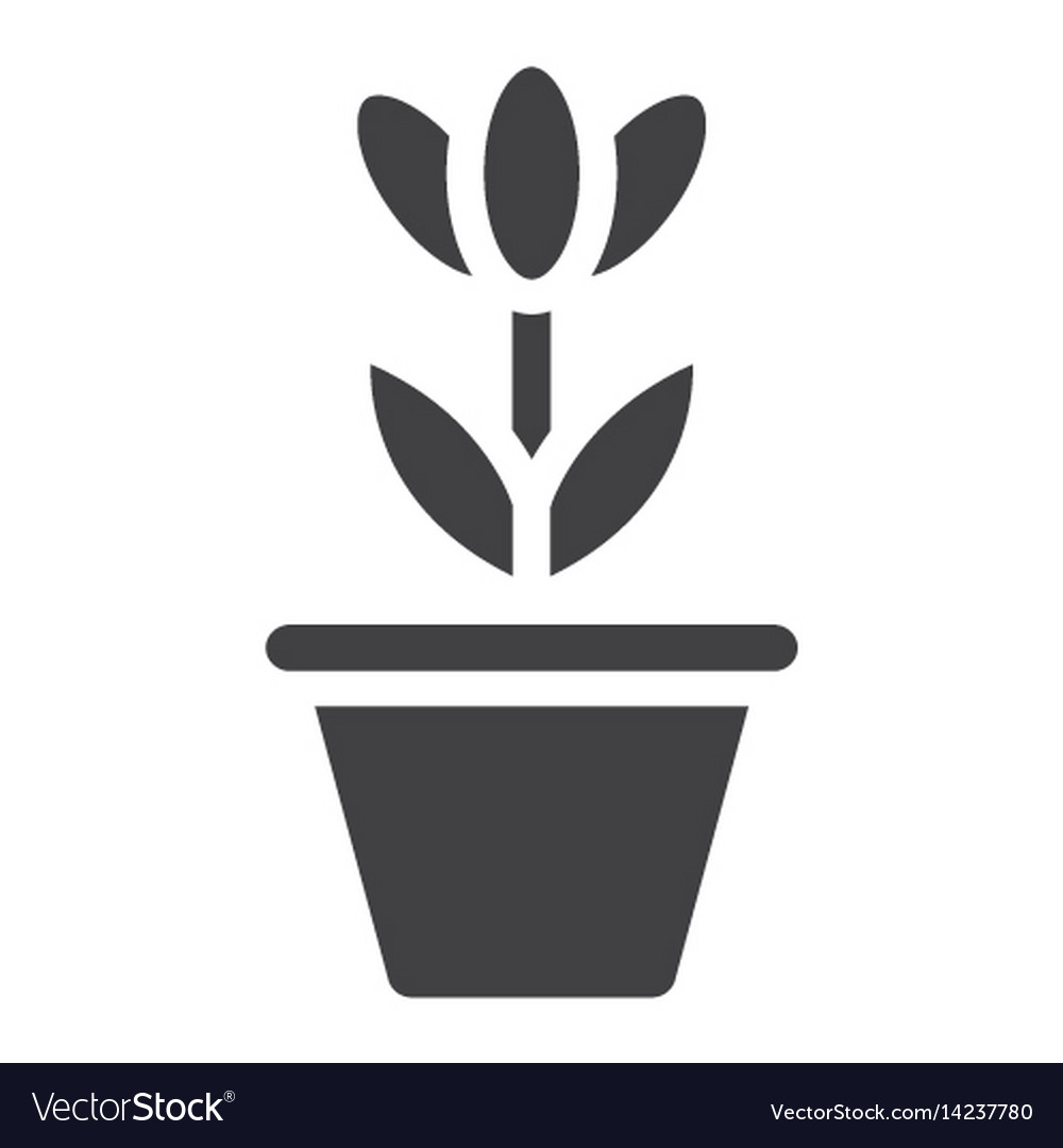 Flower in pot solid icon plant and decor
