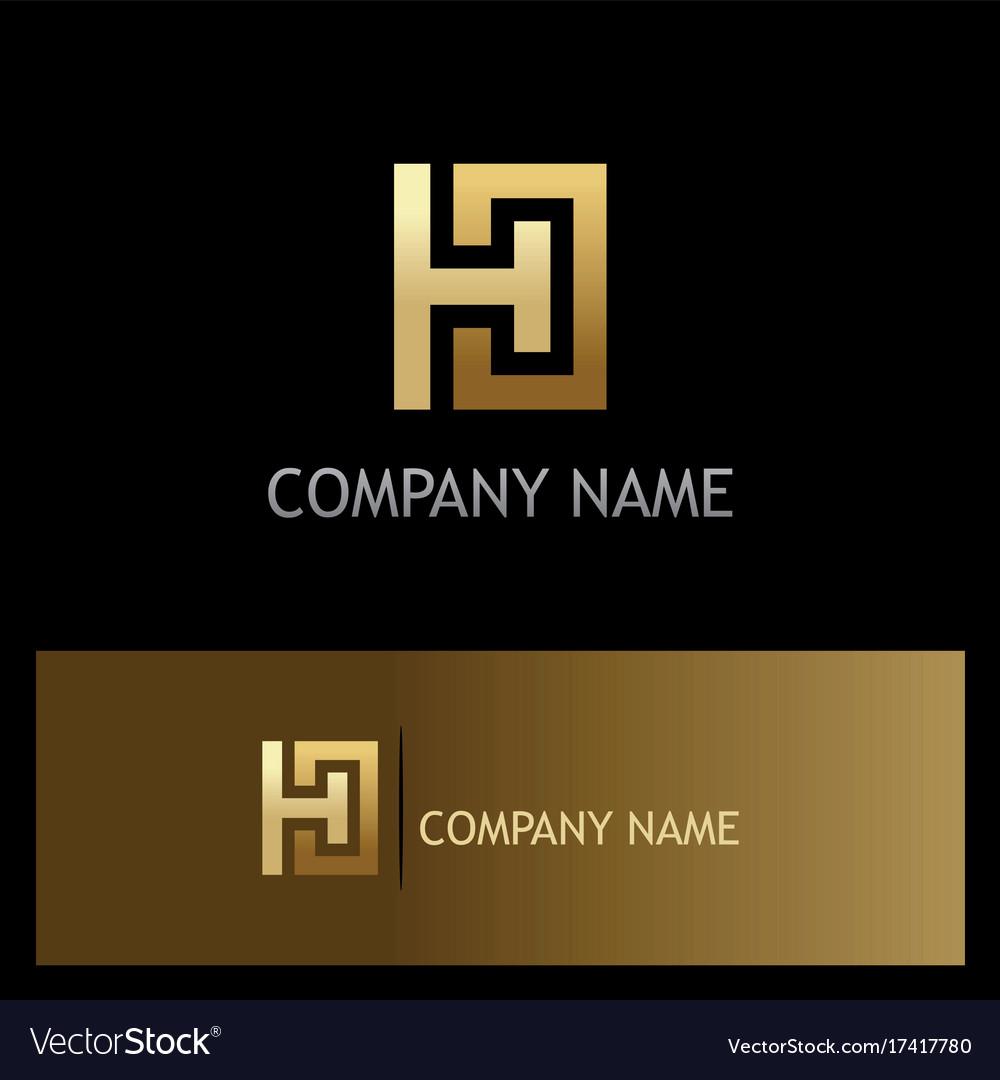 Gold letter h square logo