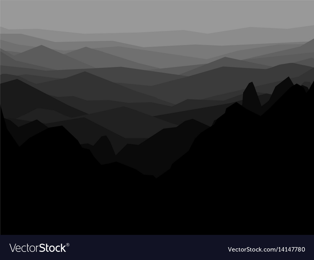 Mountain monochrome landscape abstract vector image