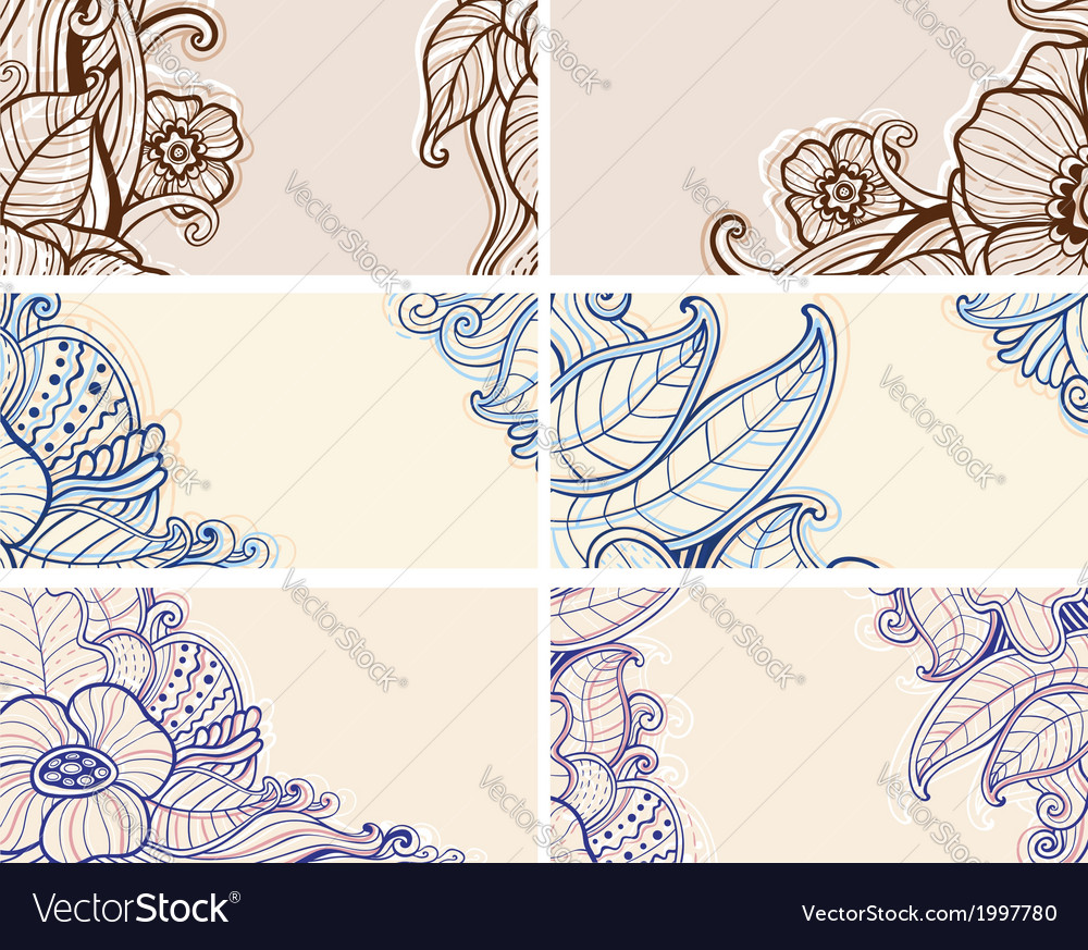 Set of abstract hand drawn floral cards vector image