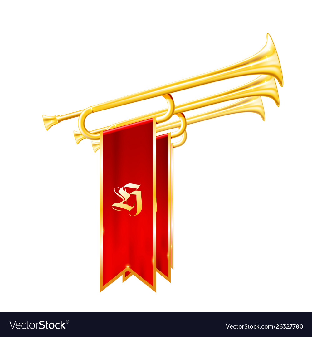 Vintage trumpets or bugles with flags - fanfare