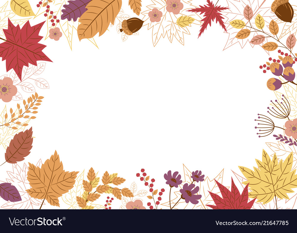 Autumn leaves design on white background