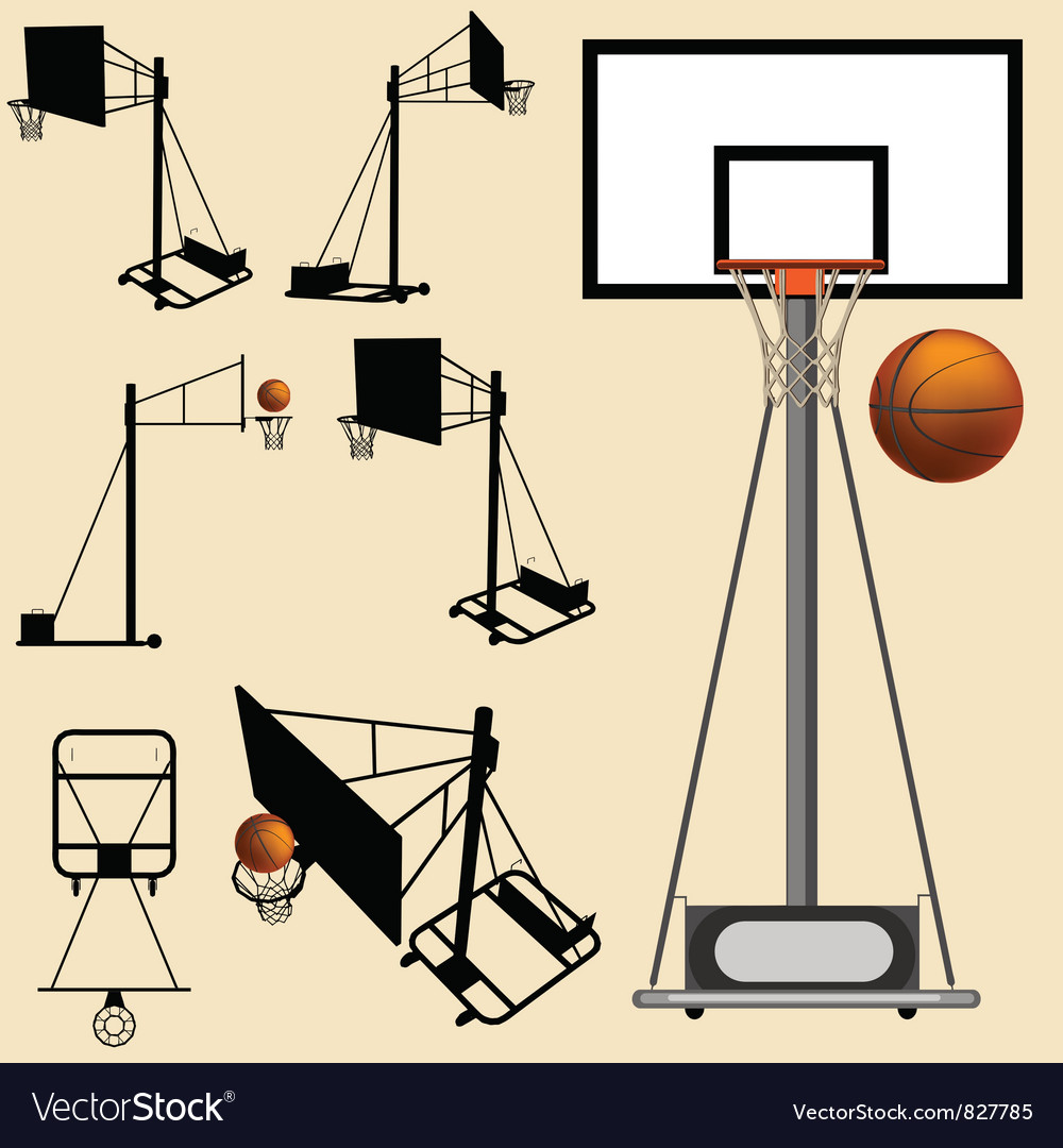 Basketball hoop and ball silhouette