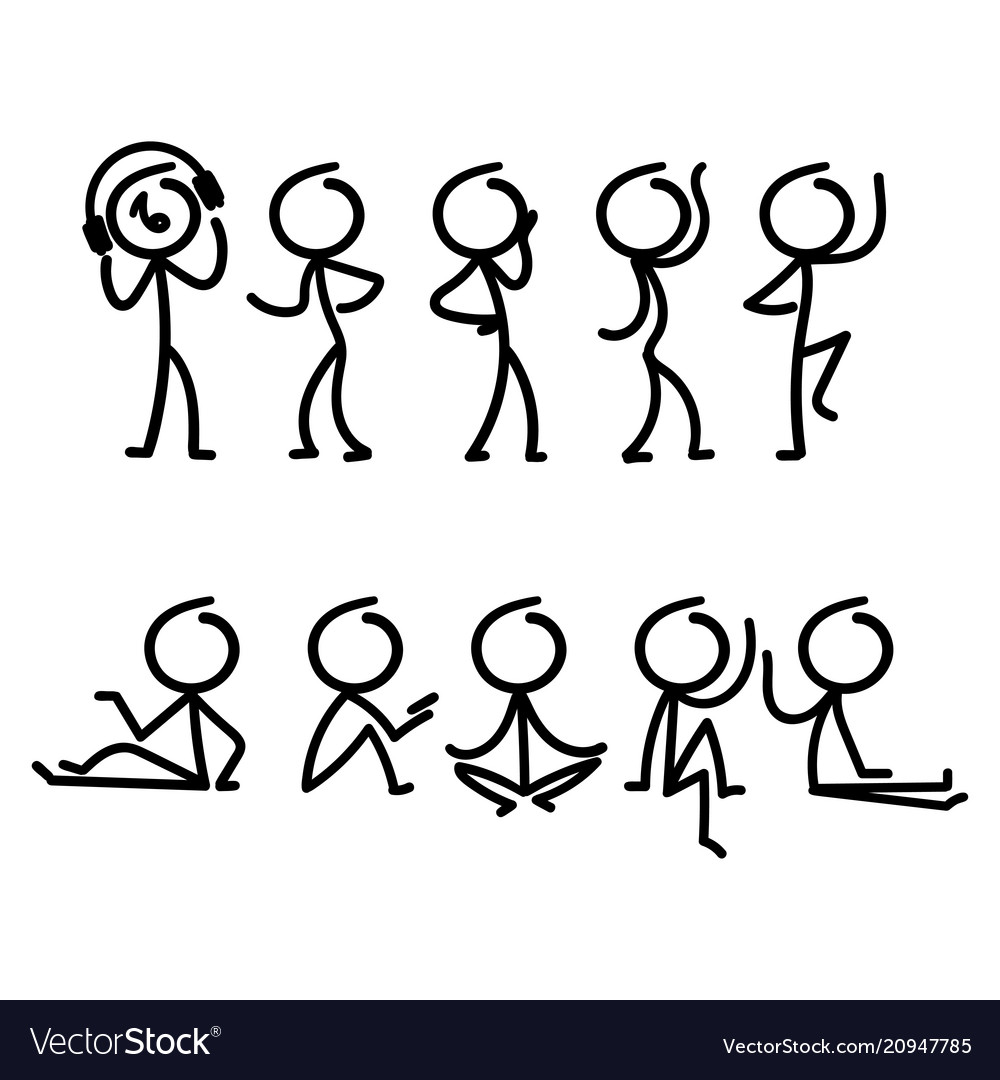 Cartoon doodle stick figure with different pose
