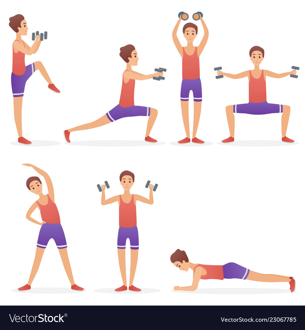 Funny handsome man exercising various different