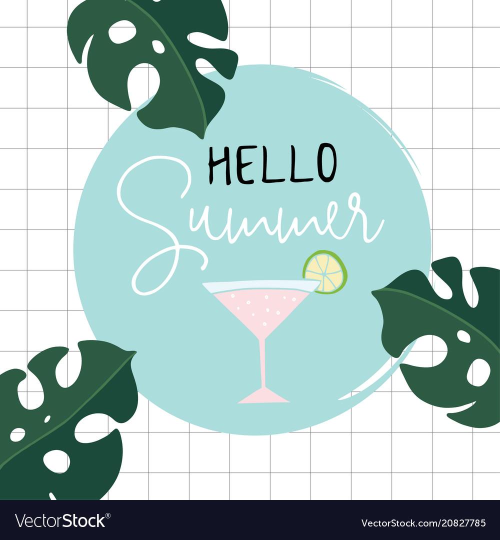 Hello summer retro greeting card invitation with