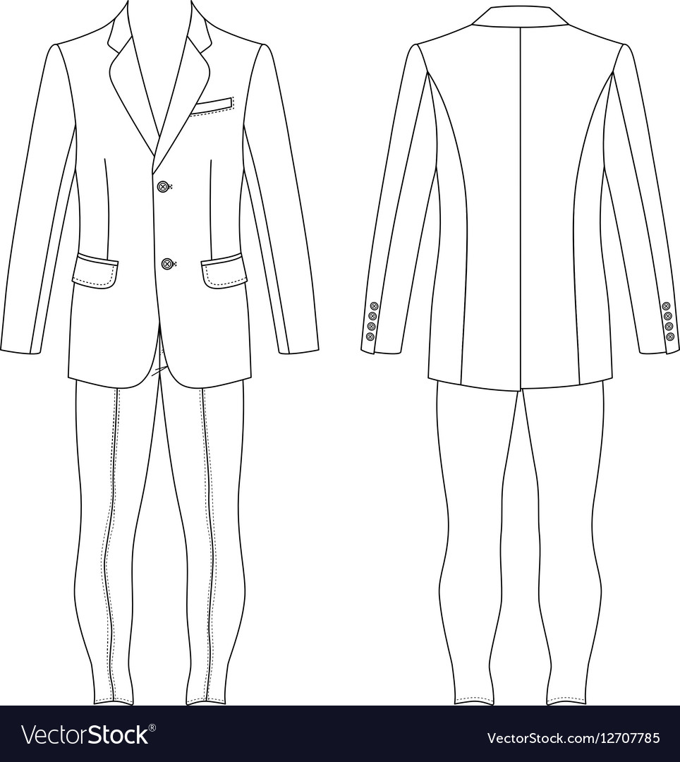 mans suit jacket skinny jeans outlined template vector image