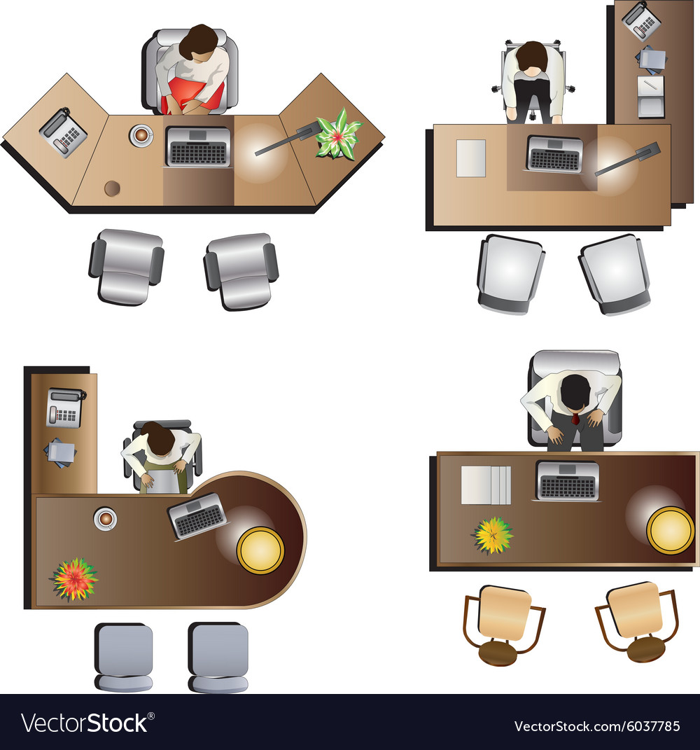 Office Table Top View Vector