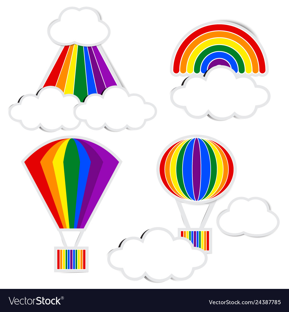 Rainbow paper and cloud paper with shadow on