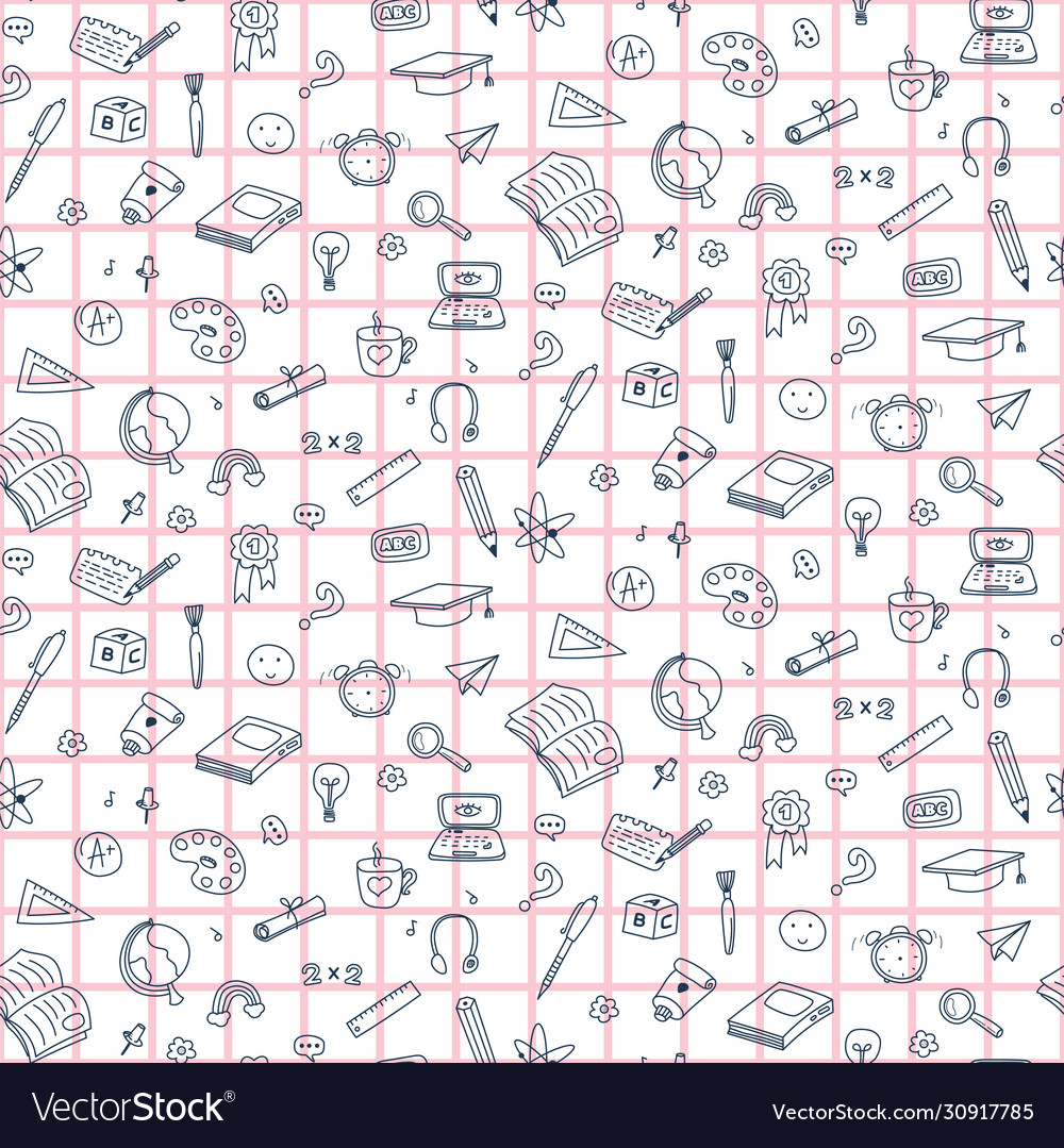 Seamless pattern with education back to