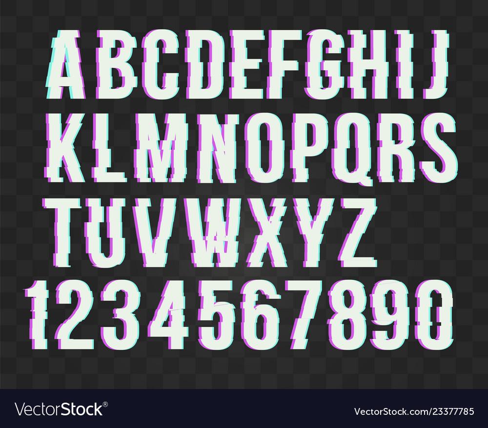 Trendy style distorted glitch typeface alphabet