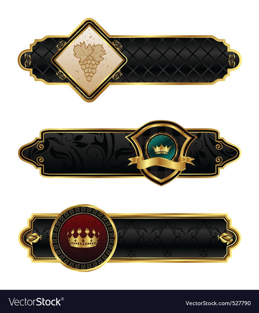 Blackgold decorative frames vector image