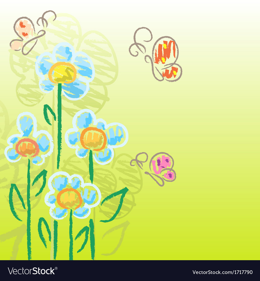 Charcoal flowers vector image