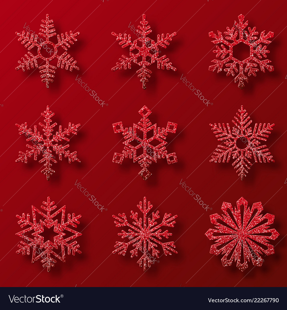 Collection of red glitter snowflakes nine