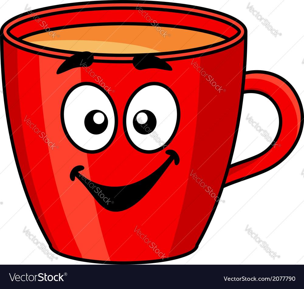 Colorful red cartoon mug of coffee