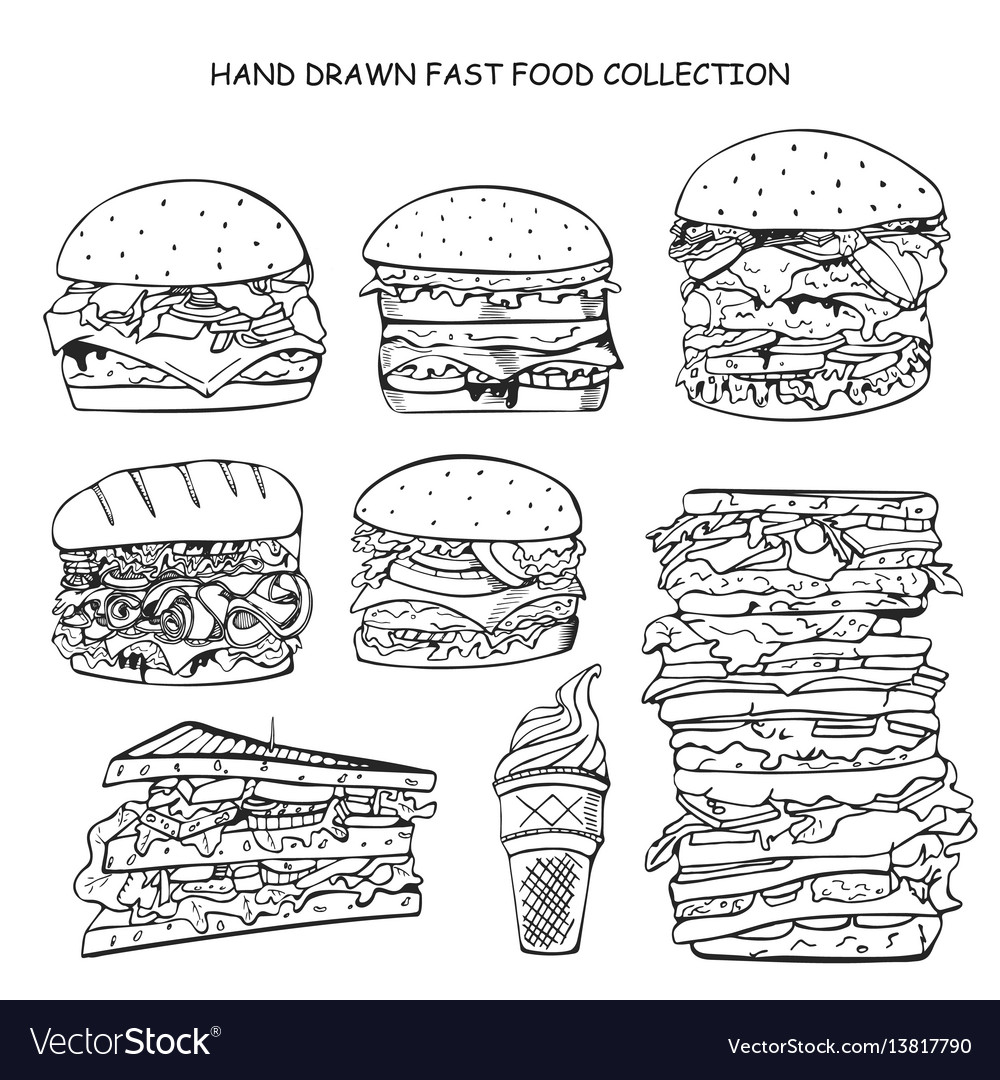 Hand drawn fast food collection doodle style